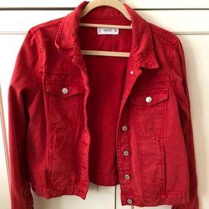 Washed Red Denim Jacket